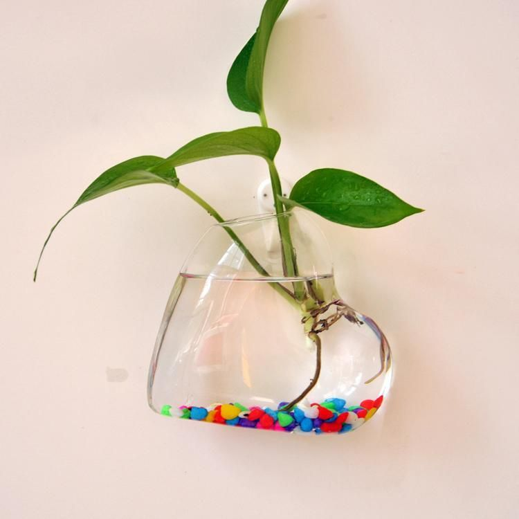 Heart Shaped Hanging Glass Wall Vase Creative Plant Decor