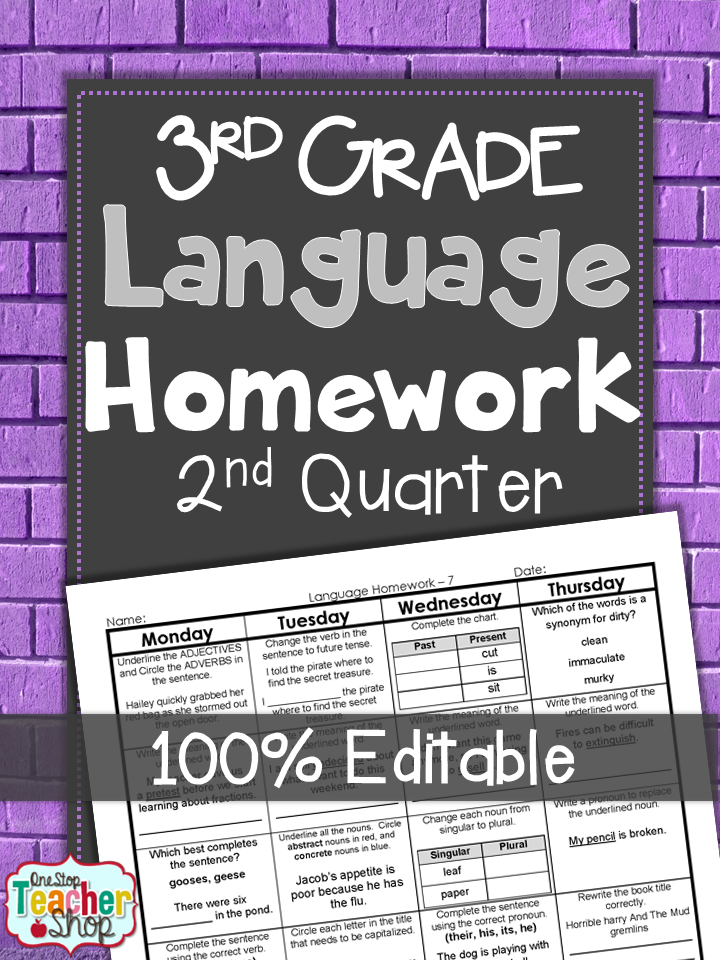 3rd Grade Language Spiral Review | 3rd Grade Grammar Practice | 2nd ...