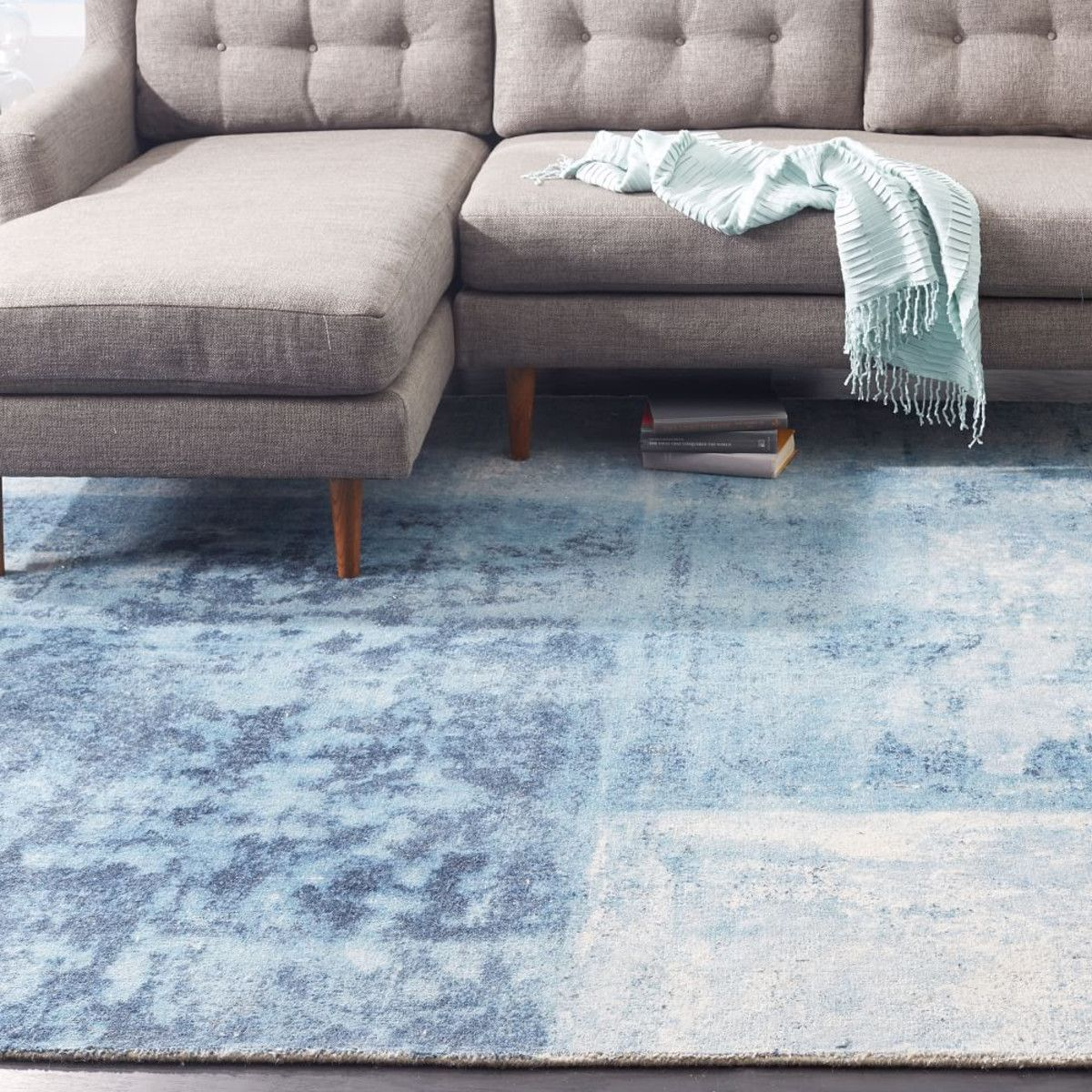 Distressed Rococo Wool Rug Blue