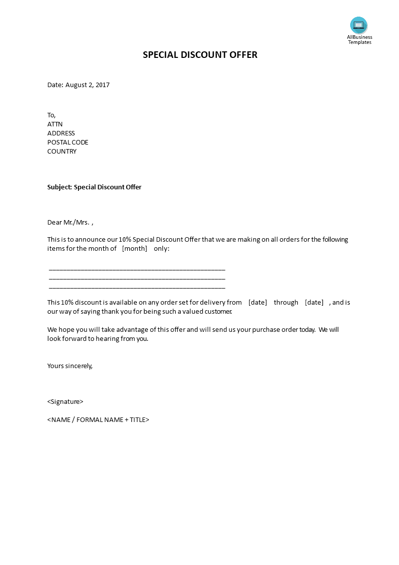 how to write a discount offer letter