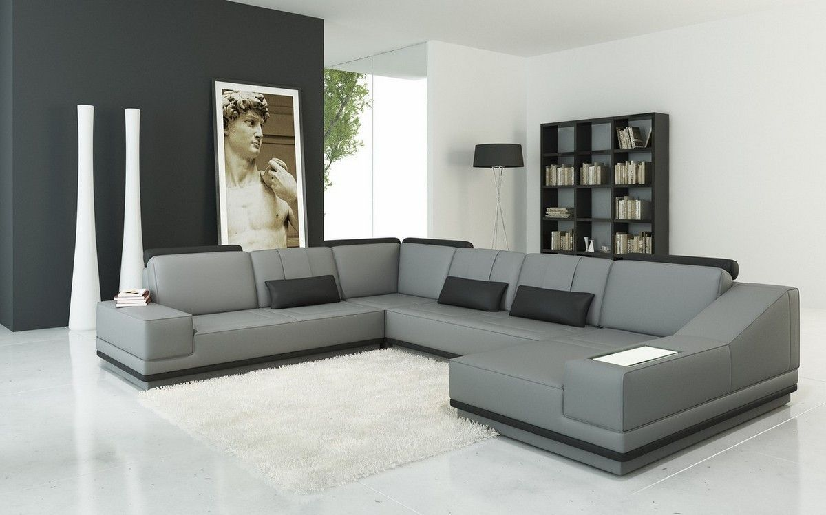 Divani Casa 5068 Modern Grey And Black Leather Sectional Sofa Ecksofas Sofa Design Wohnzimmer Sofa
