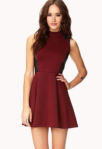 16434de4121c4 Bombshell Mesh-Trimmed Skater Dress | FOREVER 21 - 2000091856 | My ...