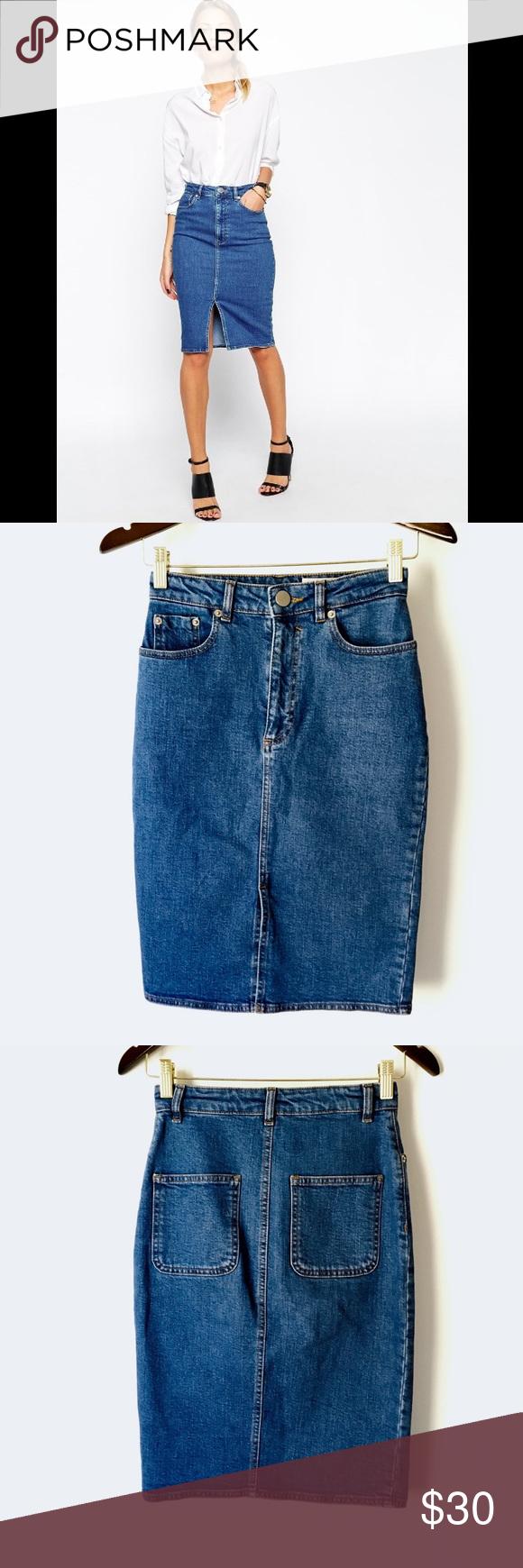 8052e80eea4 ASOS High Waist Split Front Denim Skirt Trendy pencil skirt from ASOS in  sturdy mid wash