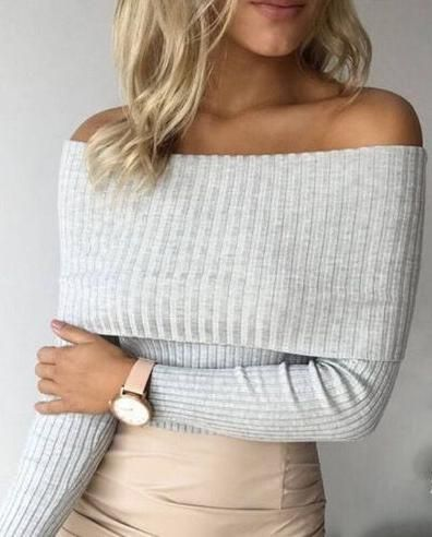 off shoulders knit.