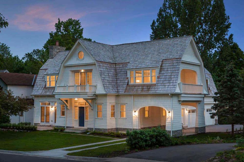 Beautiful Dutch Gambrel Shingle Style Lake Cottage In Minnesota Shingle Style Homes House Designs Exterior Shingle Style