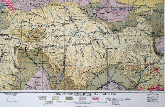 1901 Map Uinta Basin Utah-Colorado. By Geo. H. Eldridge. Original ...
