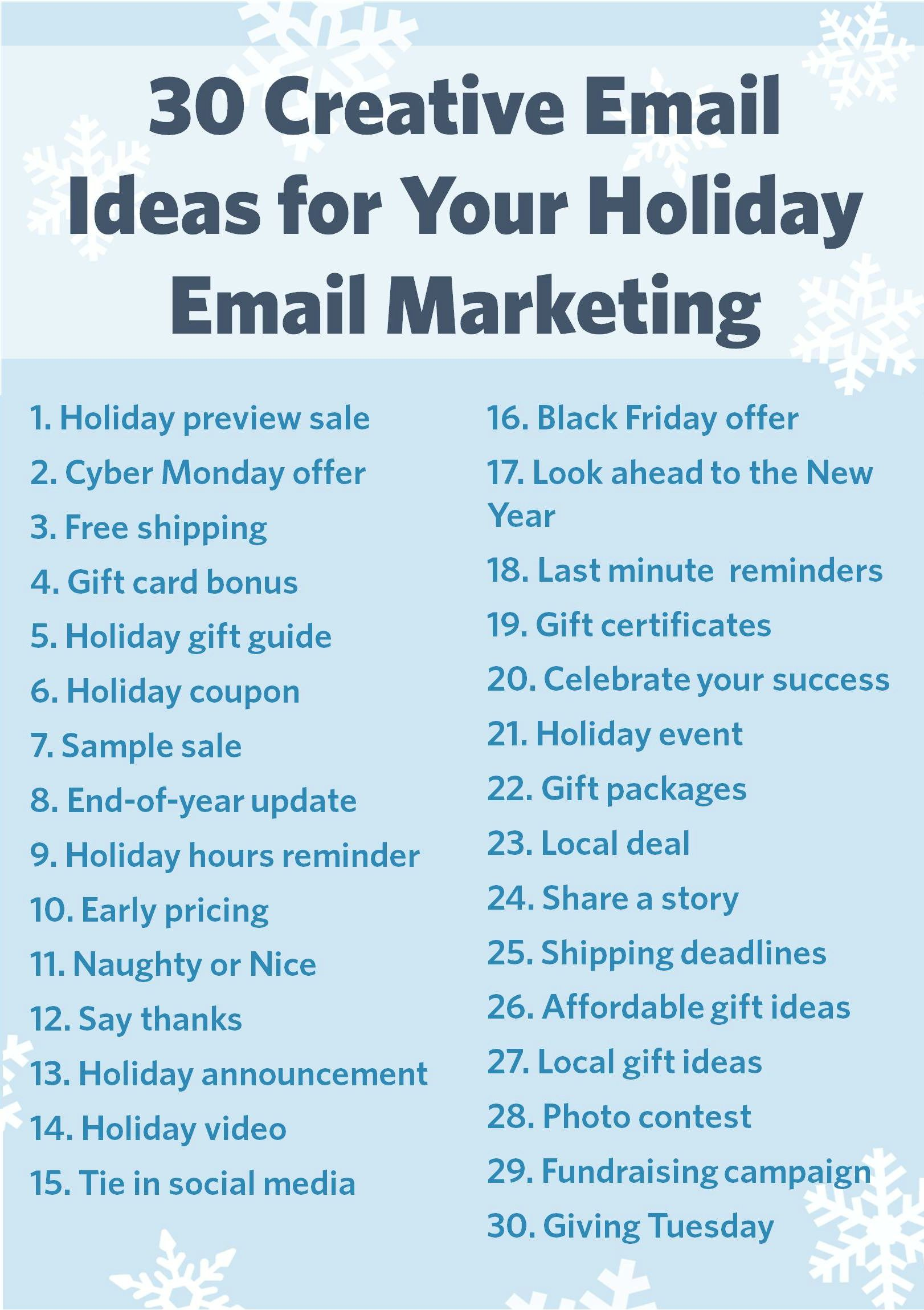 30 Creative Ideas For Your Holiday Email Marketing Constant Contact Salon Marketing Spa Marketing Business Marketing