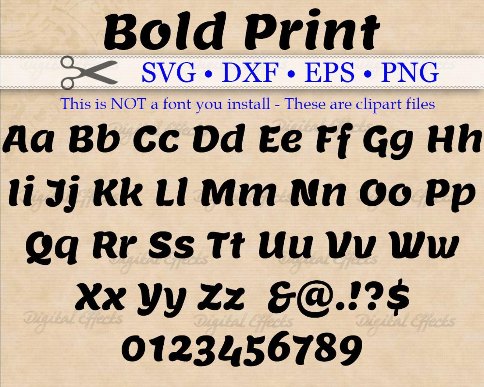BOLD PRINT Monogram Svg Dxf Eps Png Files Bold Retro