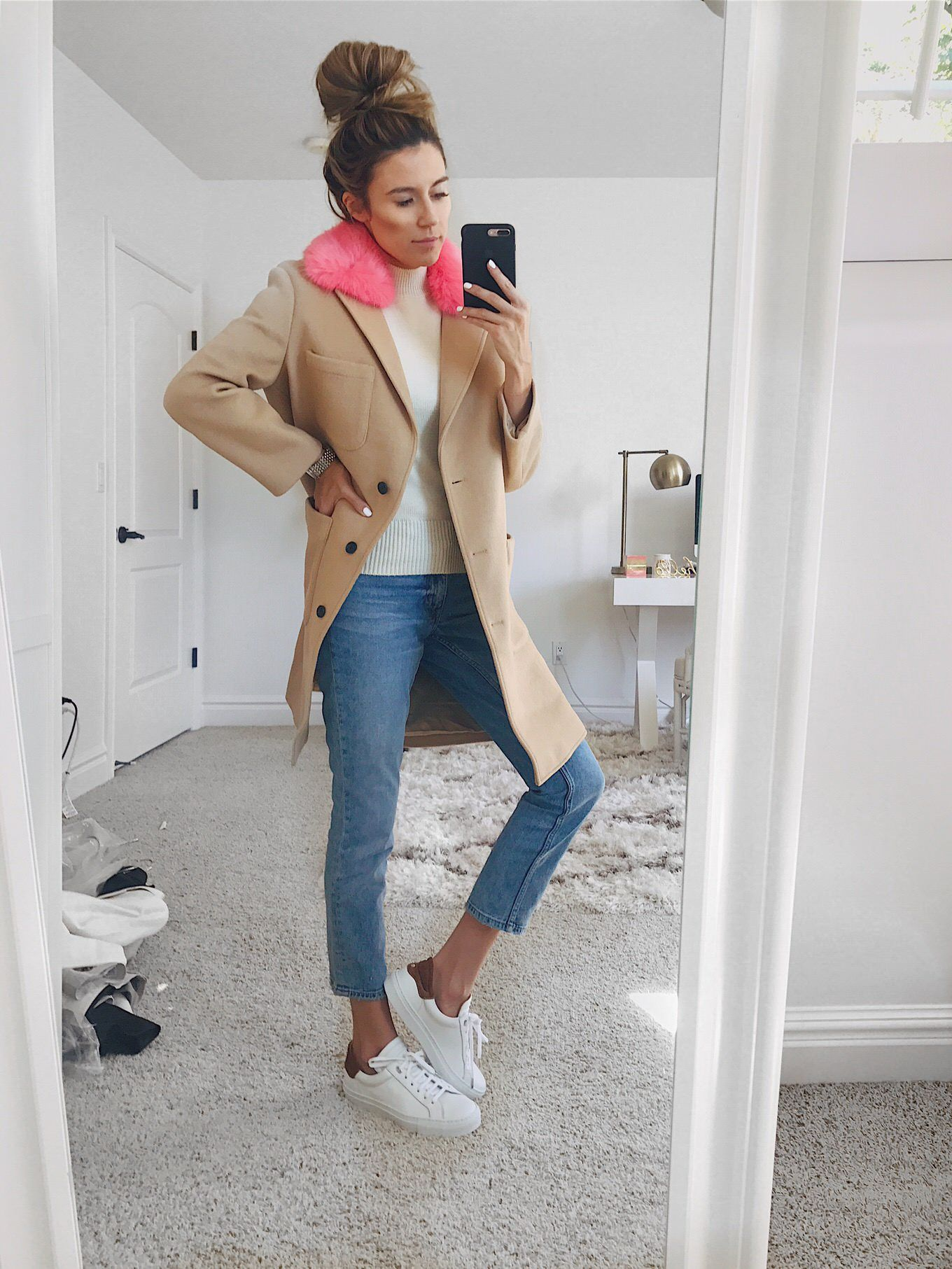 3793c4def9cca4 Camel coat+white sweater+jeans+white sneakers. Fall Casual Outfit 2017