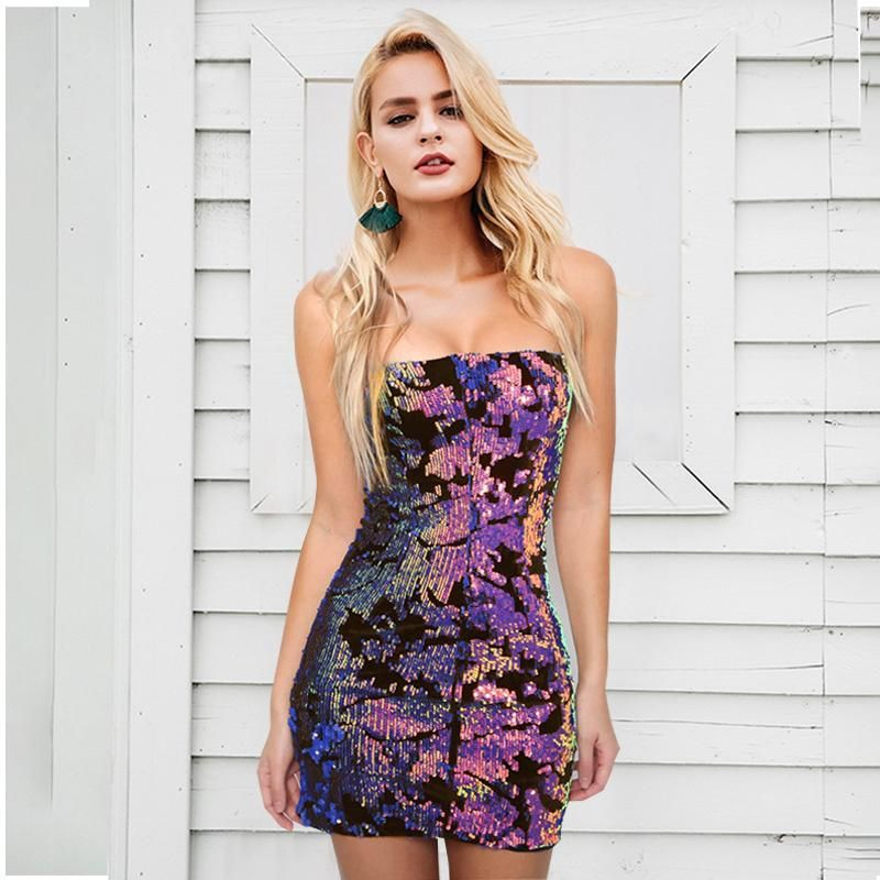 Strapless Club Sequin Party Zipper Backless Mini Dress