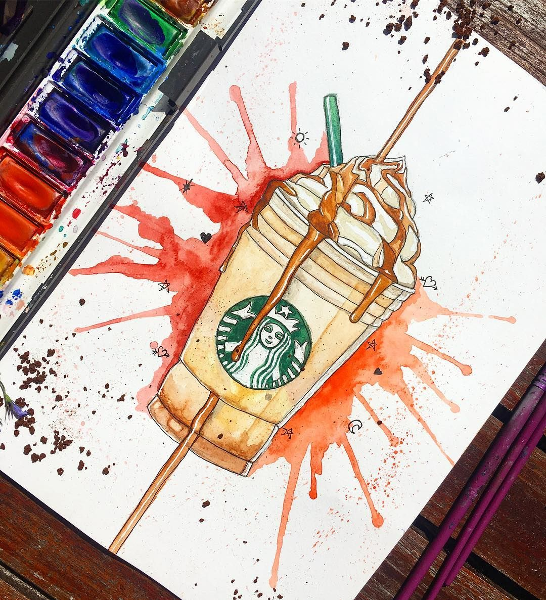 Caramel Frappuccino Starbucks Starbucksuk Hey So I Figured I M Going To Combine Quick Tumblr Sketc Starbucks Drawing Doodle Drawings Creative Drawing
