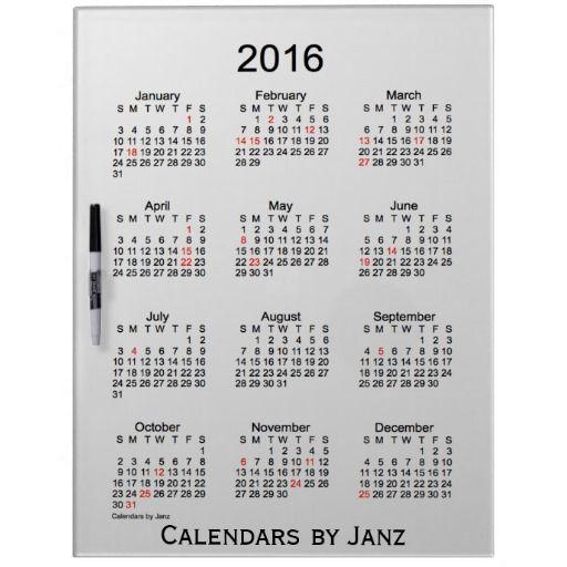 2016 White Calendar by Janz Dry Erase Board Pin it Pinterest