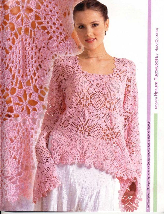 5b3e30f277 Crochê Tricô - Gráficos  Blusa Rosa Manga Longa
