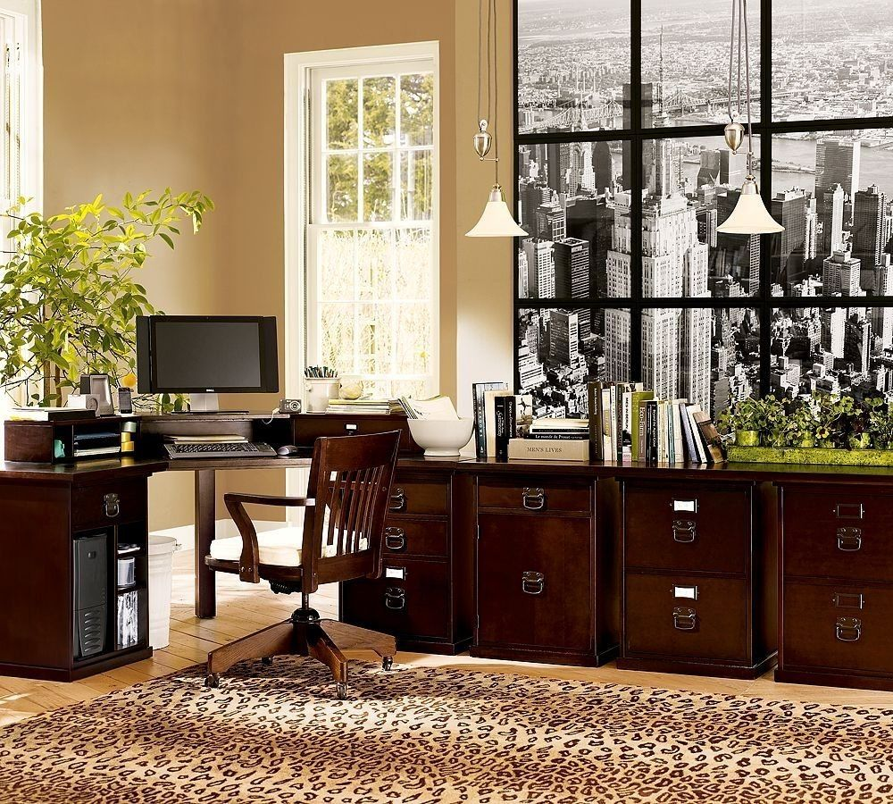 home office workspace wooden furniture. Captivating Home Office Design Idea With Espresso Wooden Work Desk And Mobile Chair Drawer Also Animal Print Area Rug Mini Pendant Lamps Green Workspace Furniture R