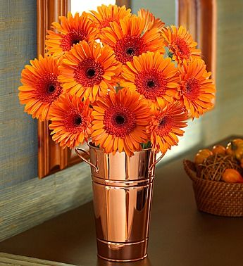 Fall Gerbera Daisy Bouquet Orange Gerbera ...