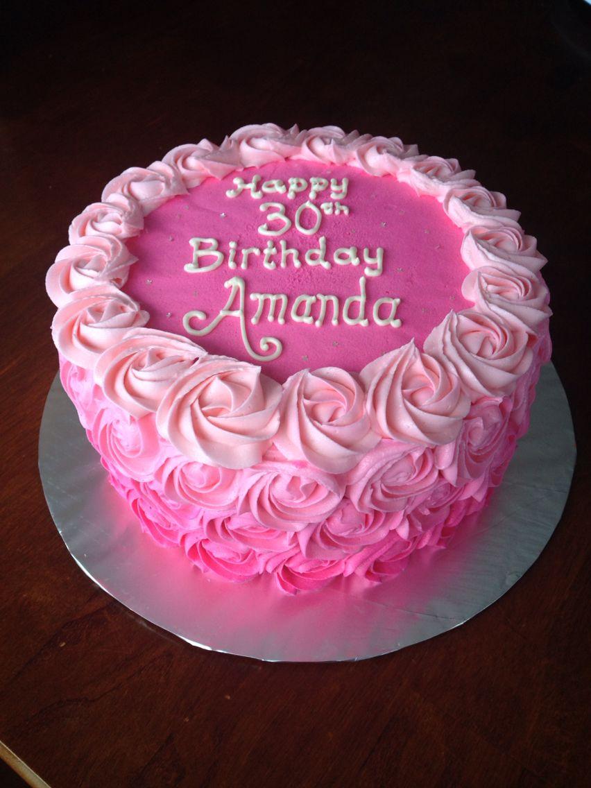 Pink Ombr 233 Rosette Birthday Cake Buttercream My Own