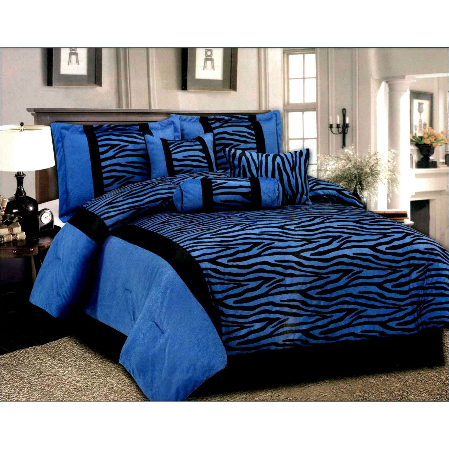 Queen Black Blue 7 Pcs Luxury Micro Fur Zebra Pattern Bed
