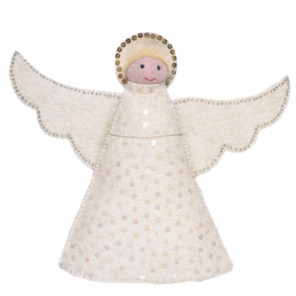 Handmade Hand Felted Wool Christmas Tree Topper Angel