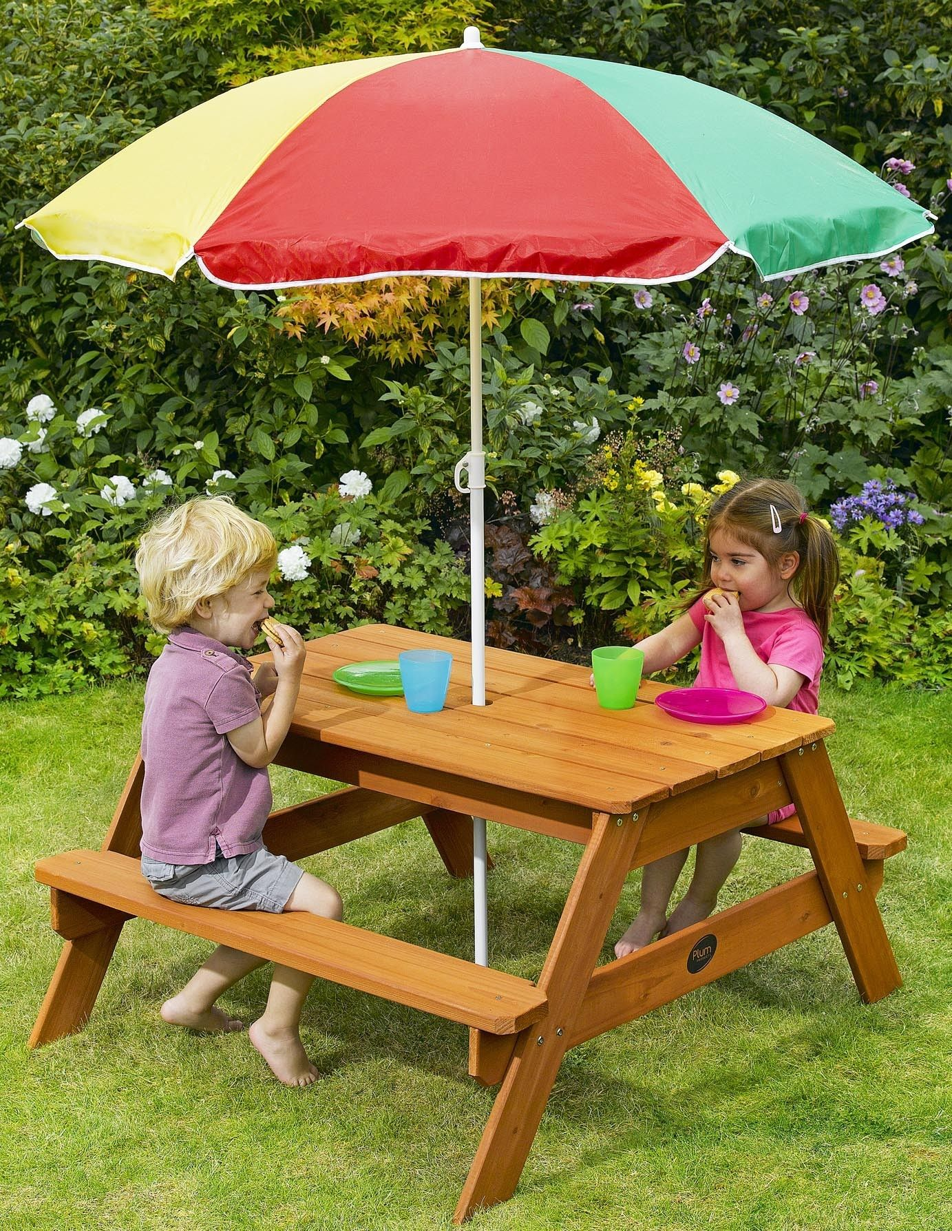 Plum Children S Rectangular Picnic Table With Parasol Children