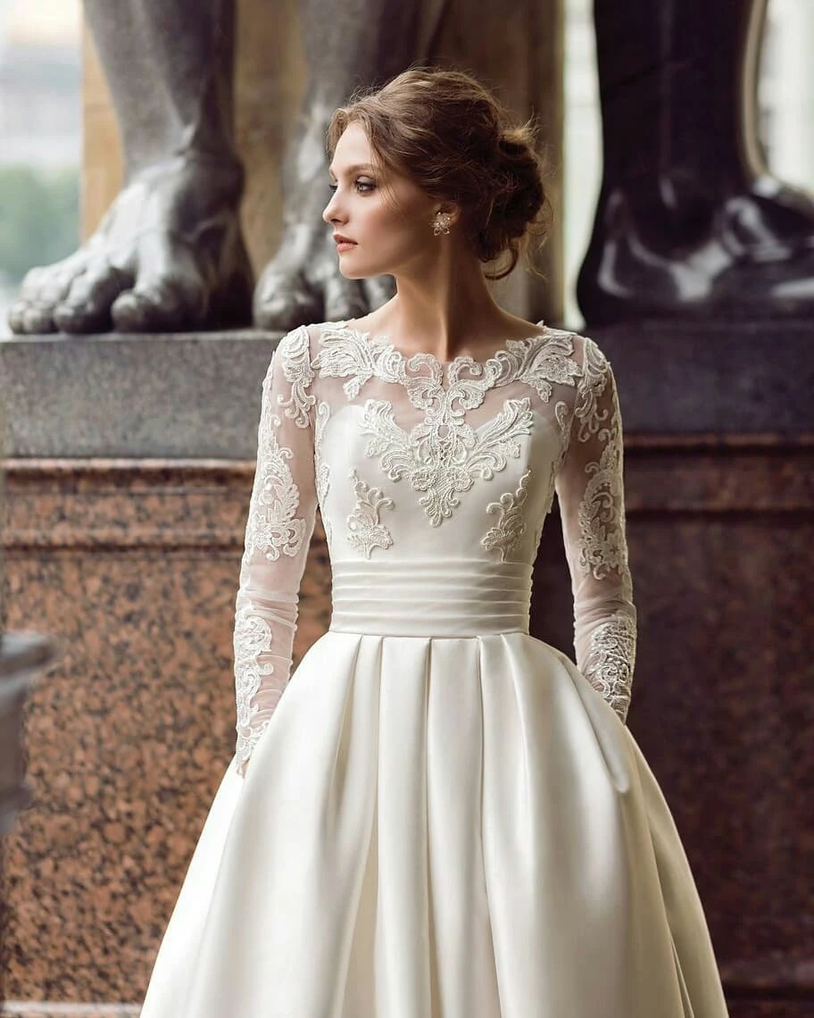 Long Sleeve Wedding Dresses With Pockets Short Train Long Romantic Satin Bridal Gown Jkw333 Modest Long Sleeve Wedding Dresses Wedding Dress Sleeves A Line Bridal Gowns [ 1140 x 912 Pixel ]