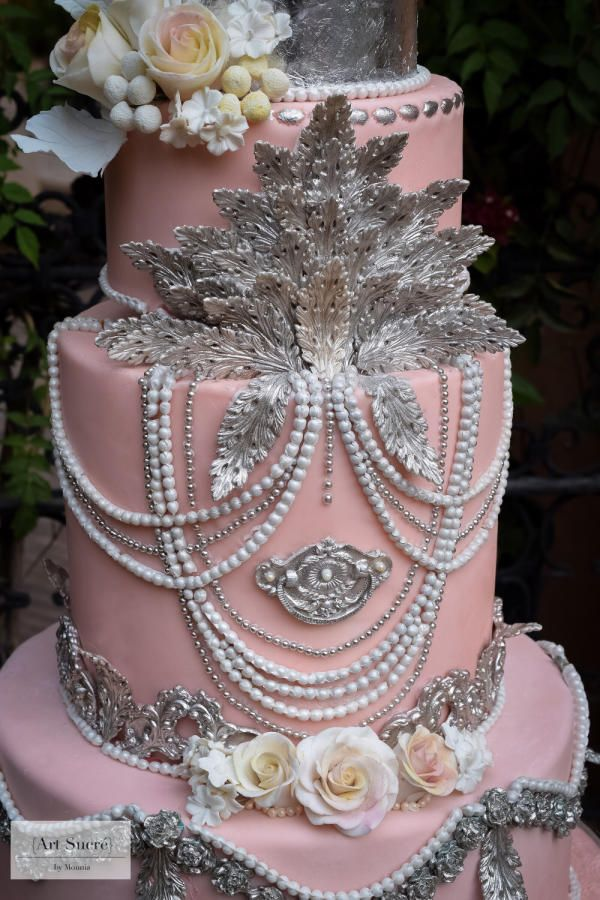 Baroque Meets Bohemian Chic Wedding Cake By Art Sucré By Mounia - Dusty Pink Wedding Cake