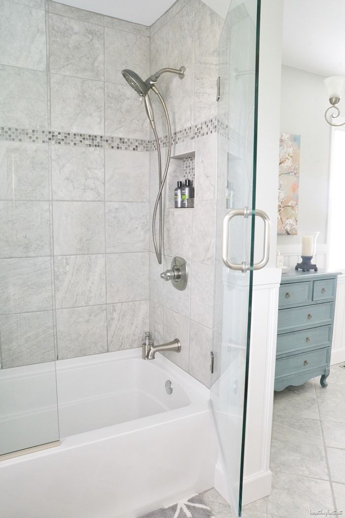 Robin S Bathroom Makeover Reveal Part Two Beneath My Heart Bathroom Tub Shower Tub Shower Combo Small Bathroom