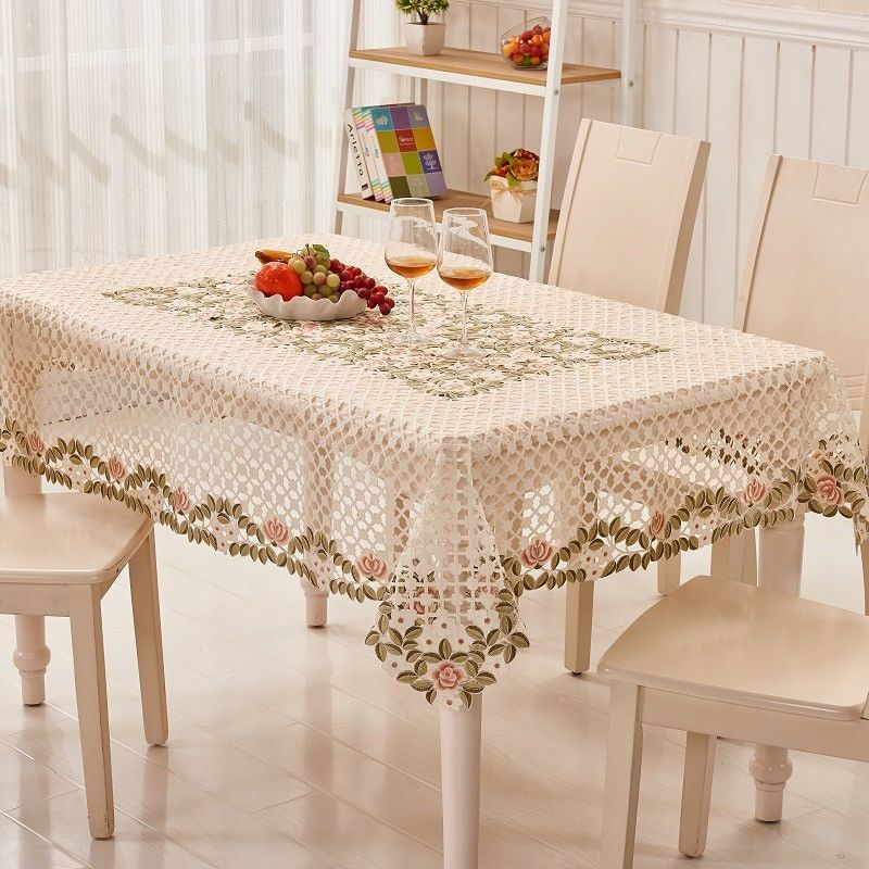 Christmas Table Cloth Embroidered Plant Flower Lace Mantel Cover Home Decoration Table Cloth Christmas Table Cloth Coffee Table Cloth