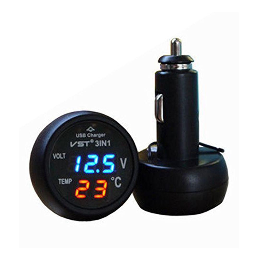 ca84e684042 3 in 1 Digital LED car Voltmeter Thermometer 12/24V Cigarette Lighter USB  Car Charger (Blue&Red Display)