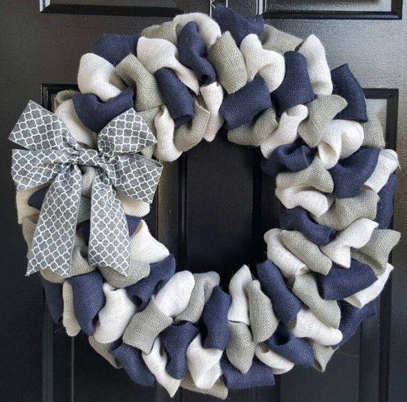 Photo of Front door wreath, personal wreath, summer jute wreath, navy blue, white & Gra …