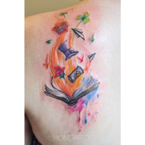 Book Cover Watercolor Tattoos : A unique watercolor bookish tattoo literarytattoos http