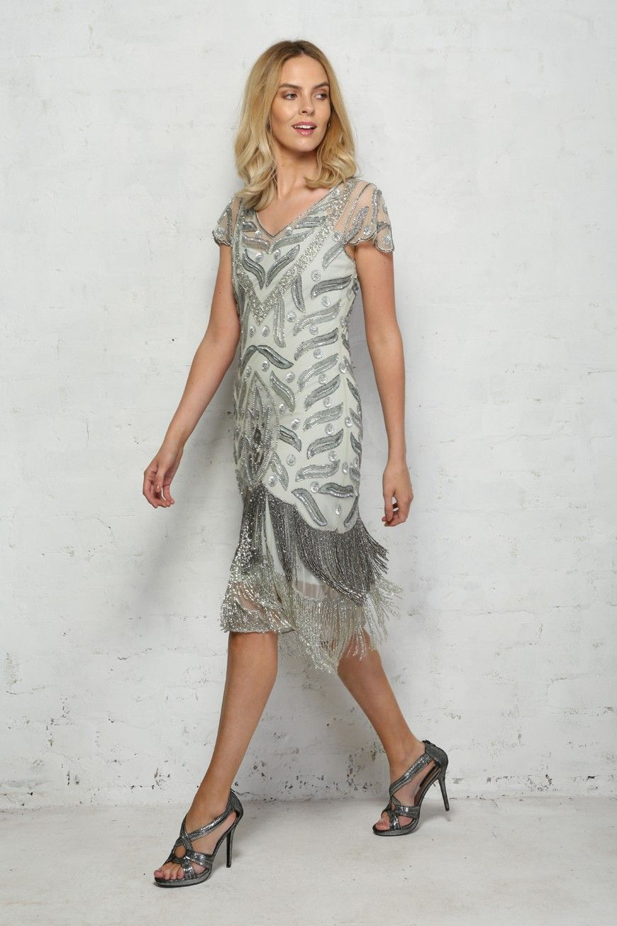 d1639e499 Silver+Fringed+Flapper+Dress +-+Calling+all+silver+screen+sirens,+have+we+got+the+vintage+party+dress +for+you!+