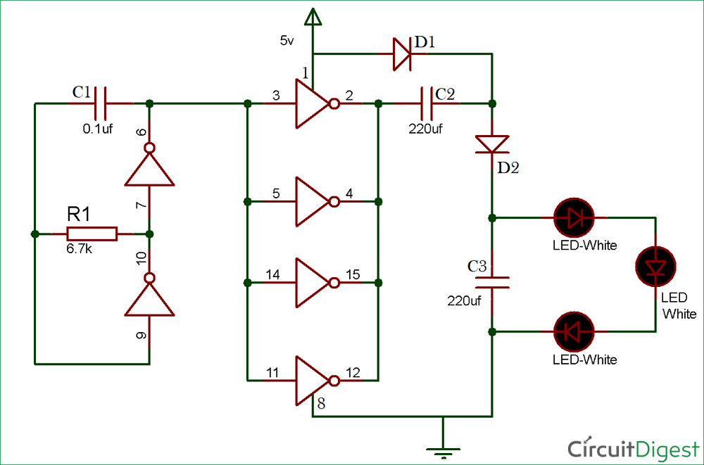 Simple LED Torch Circuit Diagram | Electronic Circuit Diagrams ...