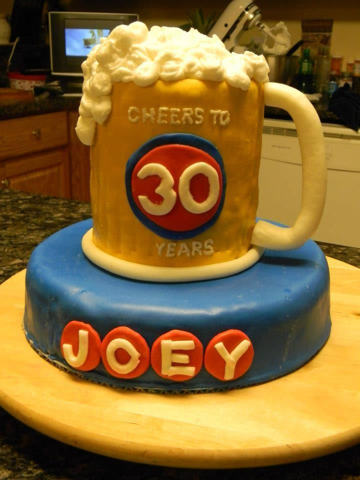 Awesome Beer Mug Cake Cheers To 30 Years Beer Themed Birthday Party Personalised Birthday Cards Veneteletsinfo