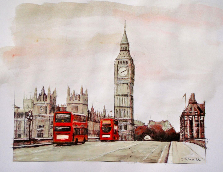 Peinture Sur Papier Londres Bigben Et Bus Anglais Rouges