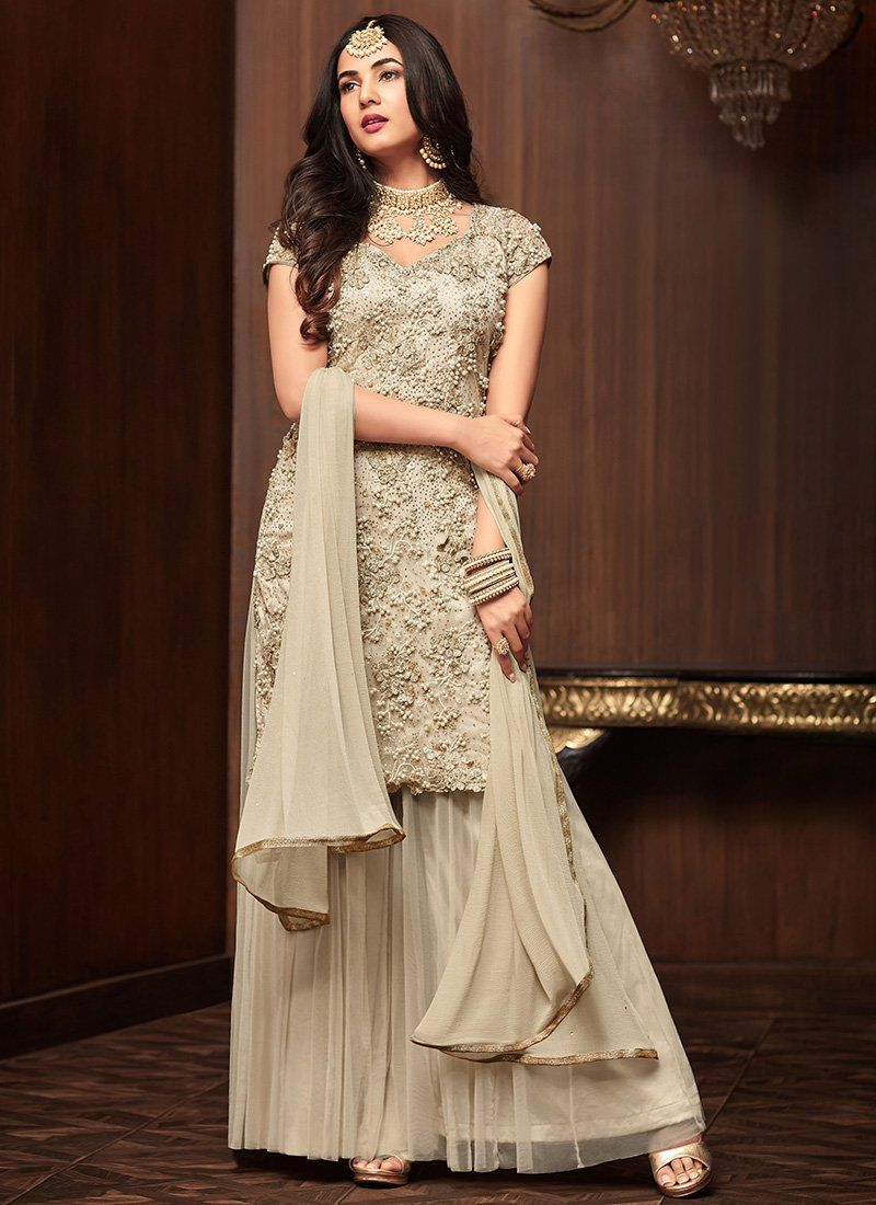 ce970163ccb Off White Maisha Sonal Chouhan Sharara Suit Online. Net top with Satin  Inner and Satin and Net bottom