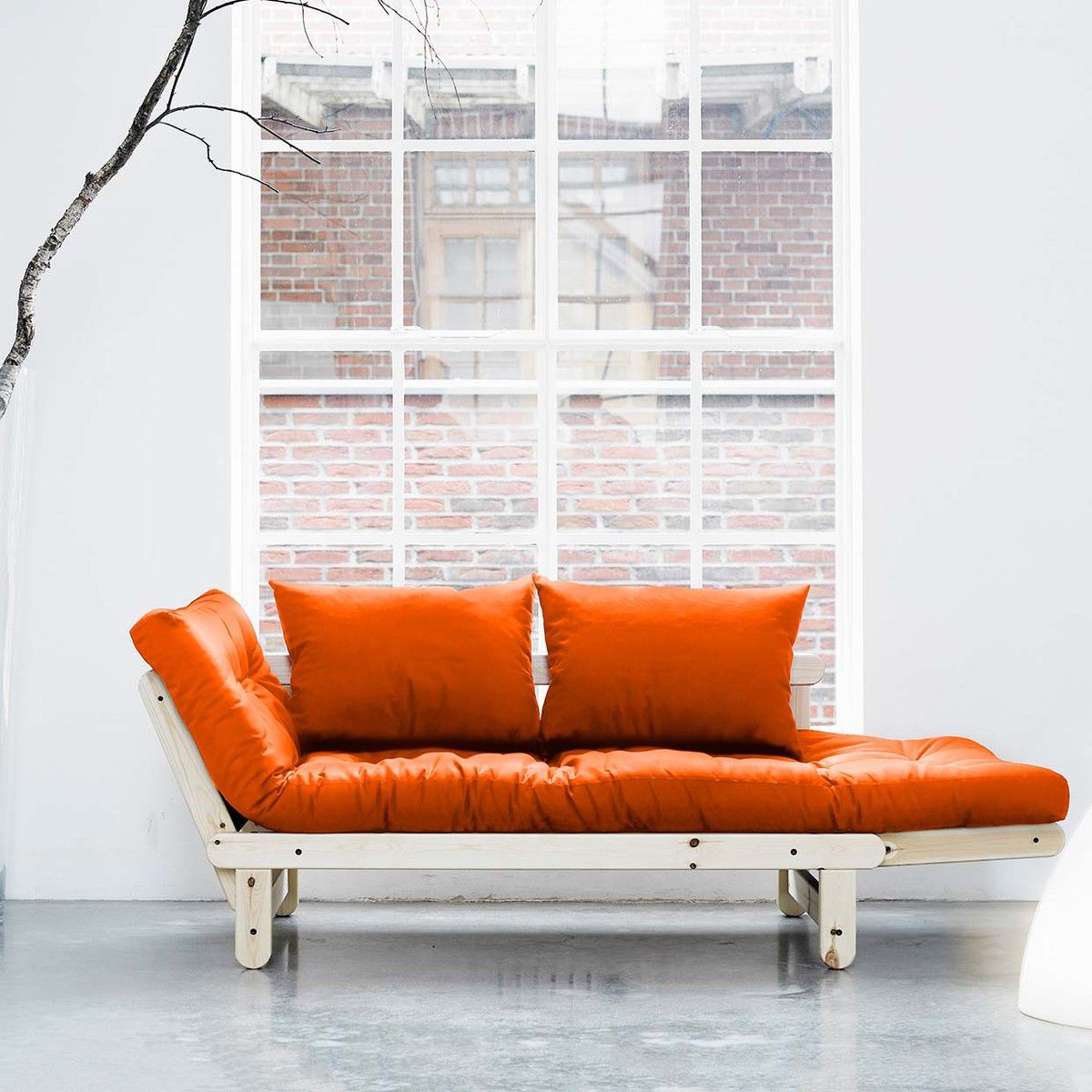 Beat Orange With Natural Frame by Fresh Futon | Sweet home | Pinterest