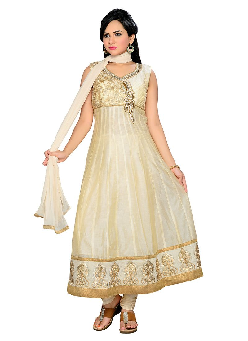 Beige chanderi anarkali suit i totally want this indian clothes