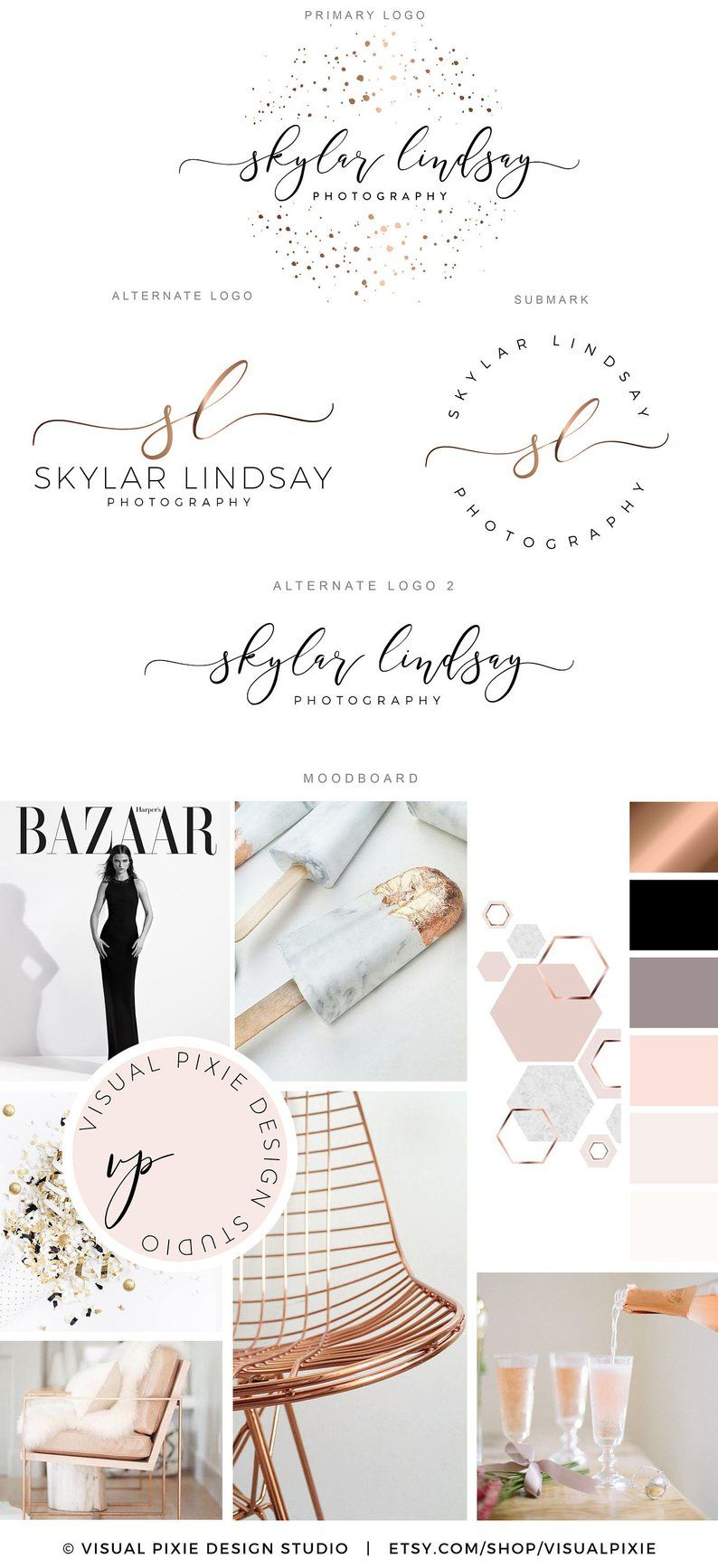 Branding Package - Rose Gold Confetti Logo - Event Planner Logo -  Photography Logo - Boutique Logo - Makeup Artist Logo - Hair Salon Logo |  Event logo, Rose gold confetti, Brand packaging