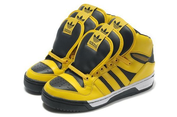 Yellow Black Adidas 3 Tongue Sneakers by Jeremy Scott For Sale