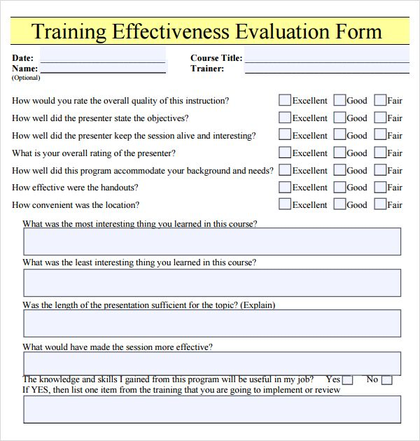 Training Effectiveness Evaluation Form Training Evaluation Form
