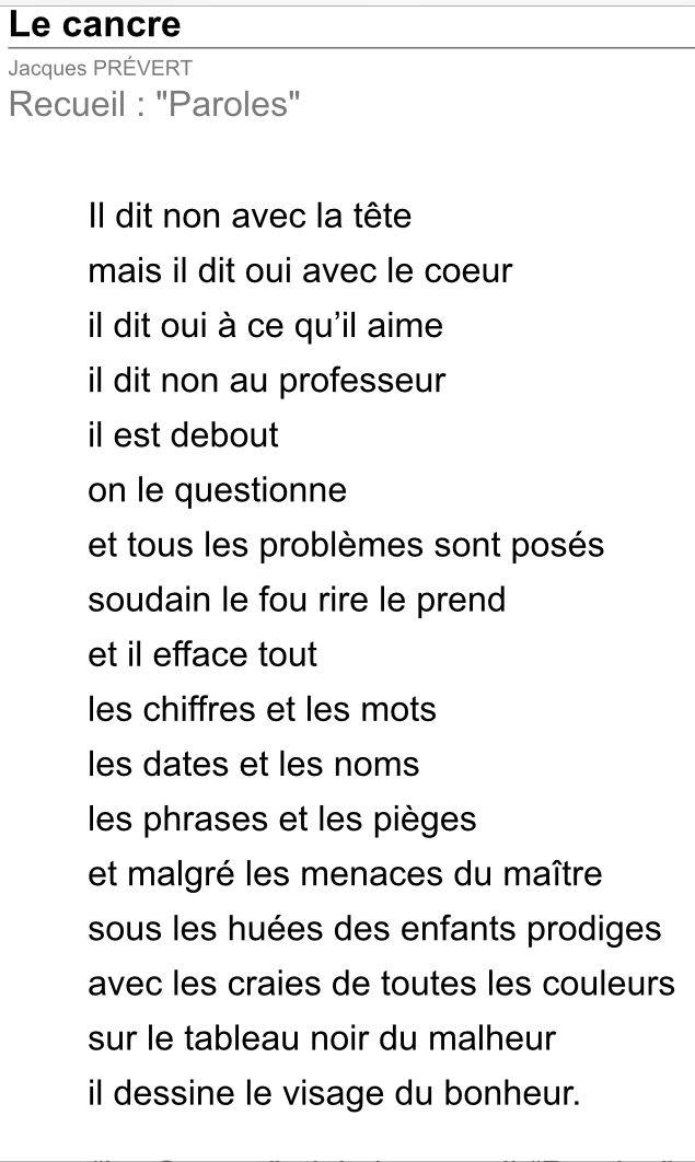 Jacques Prévert Le Cancre Prevert Jacques Citation Parole