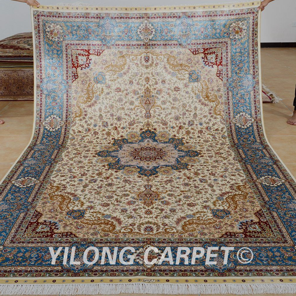Yilong 6 56 X9 84 Vantage Clic Rug Beige Antique Medallion Kashmiri Handmade Carpet