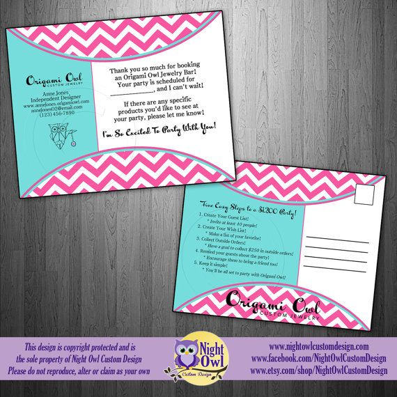 New Booking Reminder Postcard For A Hostess Origami Owl O2