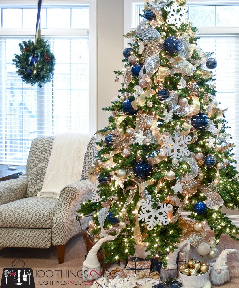 Christmas Tree 2017 Navy Gold And White 100 Things 2 Do Gold Christmas Decorations Blue Christmas Tree Decorations Blue Christmas Decor