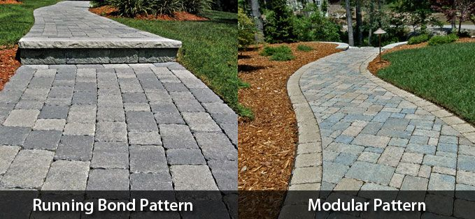Concrete pavers in 2 different patterns via triad for Different patio designs