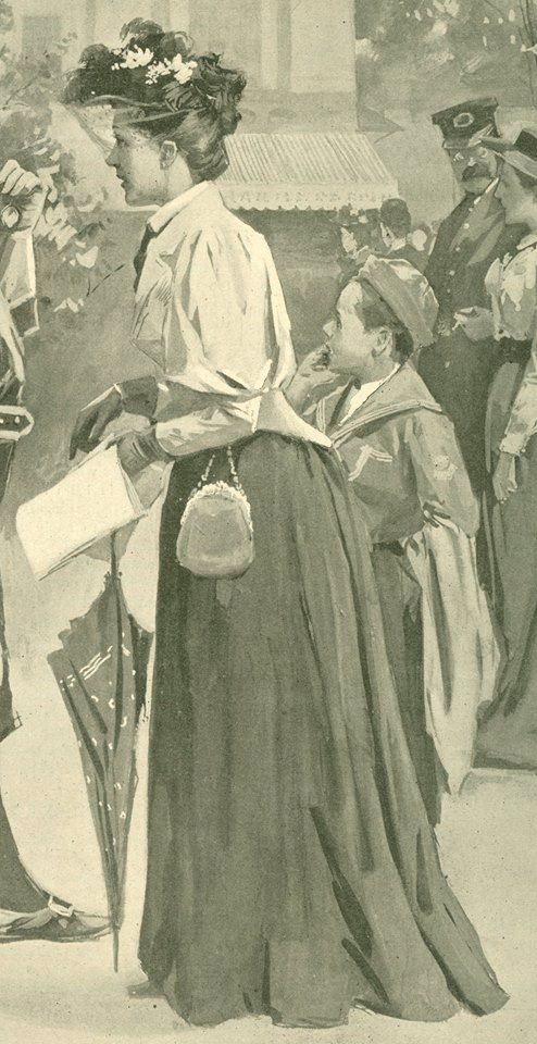 1890s -has purse hanging from chatelaine at waist