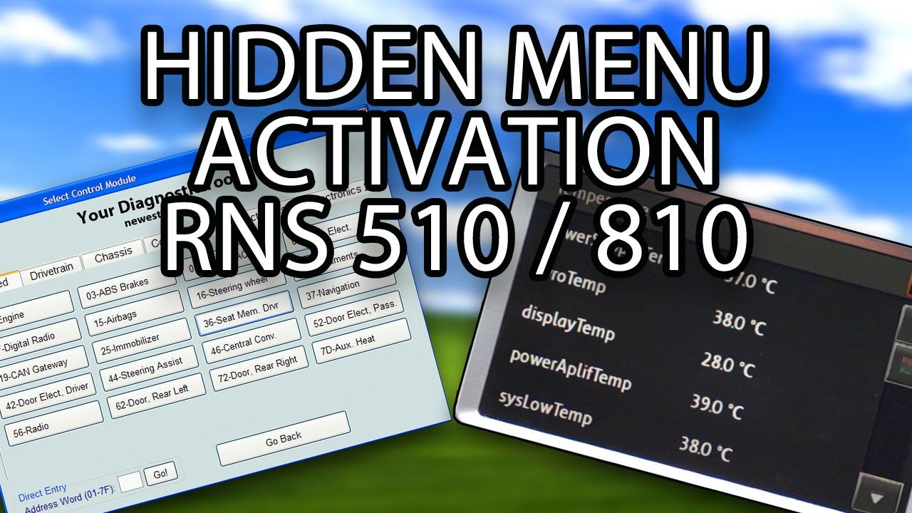 How to activate hidden menu #RNS510 #RNS810 (testmode) with #VCDS