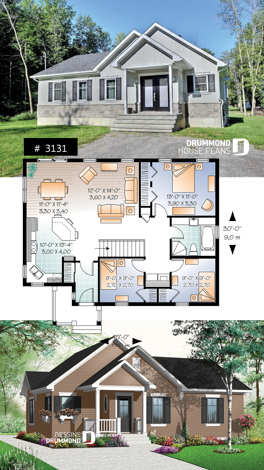 Discover The Plan 3131 Erindale Which Will Please You For Its 3 Bedrooms And For Its Country Styles Affordable House Plans Bungalow Floor Plans Cottage House Plans