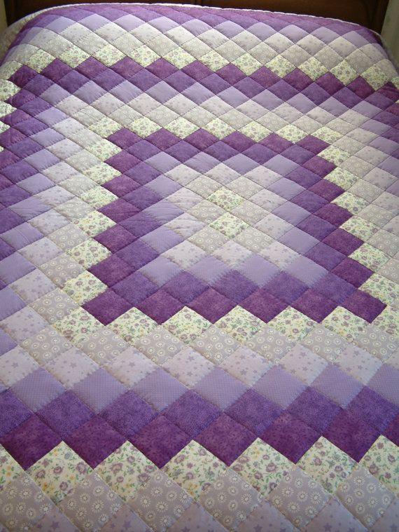 King Size Purple Lavender Amp Green Hand Quilted Trip