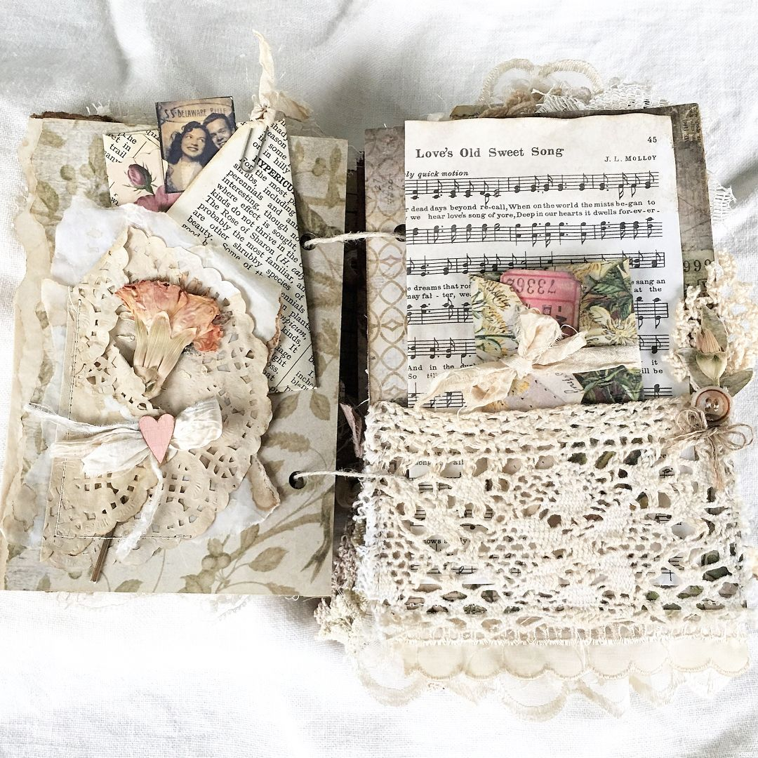 Love My Newest Heirloom Journal For Sale Link In My Profile Sweethearts Lovebirds Handmadejournal Vintage Junk Journal Vintage Journal Handmade Books